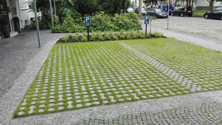 Rasenkammerstein mit Rasen in den Zwischenraeumen und als Pflasterplatte verlegt als PKW Parkplatz und Schilder und bepflanztem Blumenbeet und Strasse und Baeume und Autos und Straeucher
