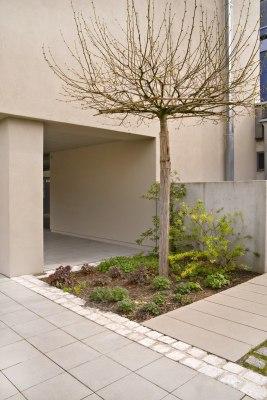 Vorplatz aus grauen quadratischen Steinplatten und Baum und beiges Gebaeude