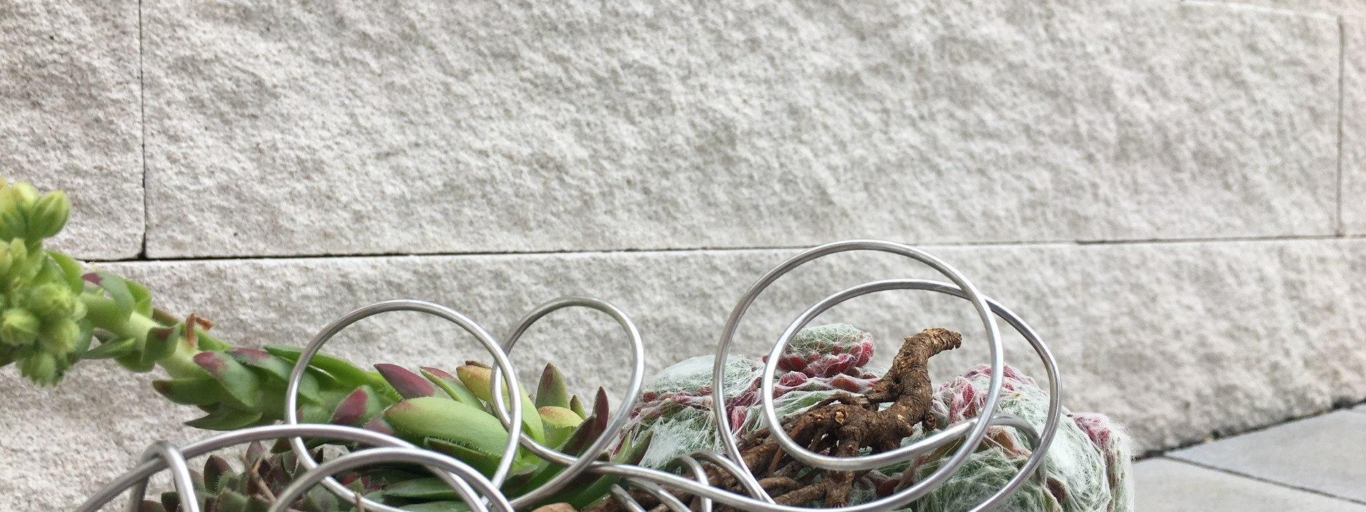 Steinmauer aus kreisefarbenen Steinen vor gepflastertem Steinboden in grau mit Buchsbaeumen in Blumenschale