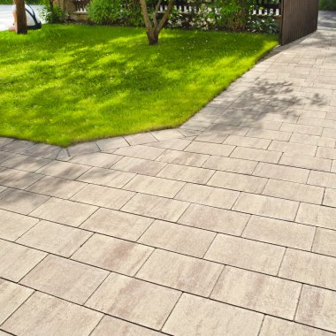 Gepflasterte Einfahrt mit gruener Wiese und Baum und Holzzaun und Pflanzen und